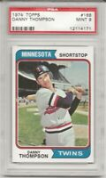 SET BREAK - 1974 TOPPS # 168 DANNY THOMPSON, PSA 9 MINT, MINNESOTA TWINS, L@@K