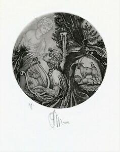 Mythology, Original Etching  Ex libris by Ruslan Agirba, Ukraine