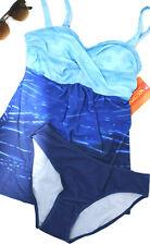 T8) NEU Damen Tankini Set mit Slip, Push Up, Bademode Blau Batik Größe 36 - 62