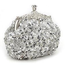 Womens Cute Fashion Silver Beads Sequin Clutch, Evening Handbag Makeup Bag Party