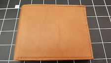 """Genuine Leather """"IDENTITY THEFT PROTECTION"""" BILLFOLD WALLET TAN BRAND NEW"""