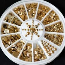 Gold Acrylic Glitter Rhinestone Nail Art Tips Stickers DIY Decoration