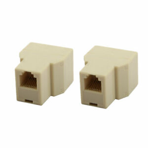 RJ12 6P6C 1 Female to 2 Female Port Telephone Wire Cable Splitter Beige 2pcs