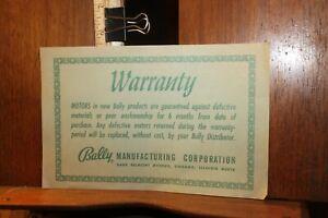 Vintage Vending Manual Bally Pinball 1970's Warranty Card
