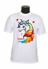 tee-shirt enfant licorne arc en ciel personnalisable avec prénom au choix réf 95