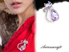 violet purple Austrian crystal cat rhinestone silver plate Brooch scarf pin D31
