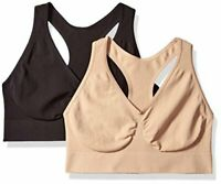 Hanes Women's Ultimate Comfy Support Wirefree 2 Pack, Black/Nude, Size Large