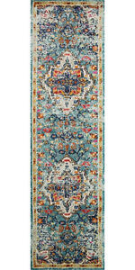 Long Runner Traditional Oriental Distressed Blue Area Rug **FREE SHIPPING**
