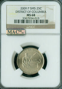 2009-P DISTRICT COLUMBIA QUARTER NGC MS68 SMS 2ND FINEST MAC SPOTLESS .