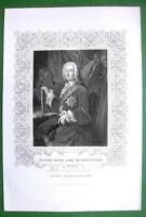 RICHARD BOYLE English Architect - Antique Print + Ornamental Border