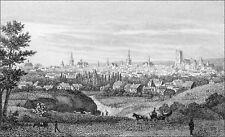 TILBURY sur la ROUTE de TROYES (CATHÉDRALE St-PIERRE & St-PAUL) -Gravure du 19e