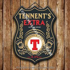 Tennent's Extra Beer Advertising Bar Old Pub Metal Pump Badge Shield Steel Sign