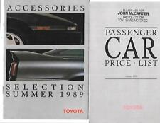 TOYOTA FULL RANGE PRICE LIST AND ACCESSORIES SALES BROCHURES 1989