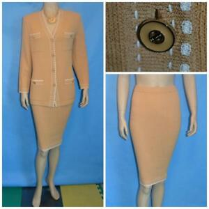 St John Knits Collection Yellow Beige Jacket Skirt L 12 14 2pc Suit Cream Trims