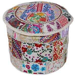 "Ethnic Round Pouf Cover Patchwork Embroidered Indian Ottoman Bohemian 16"" White"