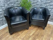 More details for 2 contract quality black leather pub bar restaurant bistro cafe tub armchairs