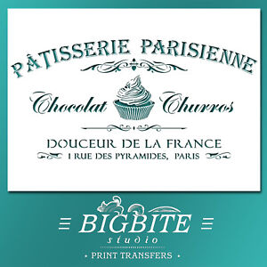 Cupcake STENCIL: Vintage French Patisserie Parisienne Advert (DIY Print) #077