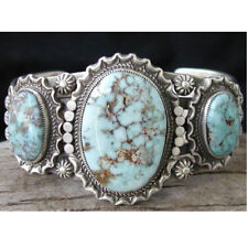 Tibetan 925 Silver Ring Turquoise Three Gems Delicate Lady Party Jewelry Rings