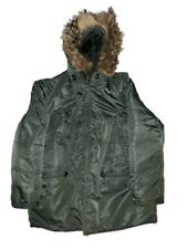 Vintage 80's Cold Weather Parka Jacket 2XL Mens Military Green Fur Hood Cargo