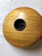 Signed Hand Carved Olive Wood Flower Frog Vase MCM Centerpiece Minimalist Decor