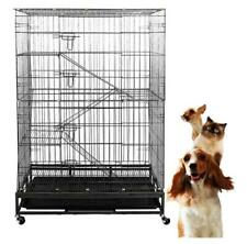 Lonabr 4-Tier Large Pet Wire Cage Folding Cat Dog Crate Playpen Climbing Ladders