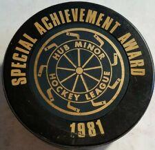 1981 Hub Minor Hockey League Puck 1000th Waterloo Game Canada Viceroy Hole!read