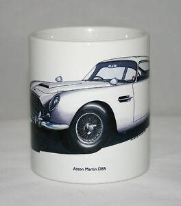 Classic Car Mug. Aston Martin DB5 hand drawn illustratiion.