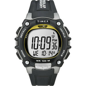 Timex T5E231 Ironman Traditional 100-Lap Black/Silver/Yellow Watch