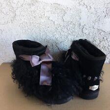 UGG Mongolian Black Fluffy Sheepskin Bow Classic Mini Ankle Boots Size 7 Womens
