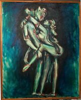Oil Painting Original On Canvas Nudes Ancient Lovers Signed Framed 24x30