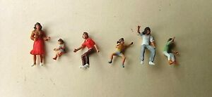 6 Painted Preiser Figures HO 1/87 Scale Roundabout Riders