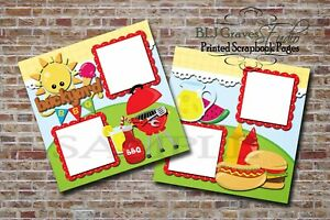 Summer Backyard BBQ 2 PRINTED Premade Scrapbook Pages Boy Girl Baby BLJgraves 11