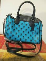 Coach Green Turquoise Black Floral Mini Bennett Crossbody Handbag Purse F38160