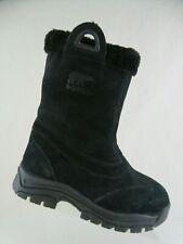 SOREL Waterfall Black Sz 8 Women Fleece Trim Winter Snow Boots