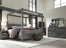 AMBROSE 5 Pieces Modern Smokey Gray Bedroom Set W/ King Size Poster Canopy  Bed
