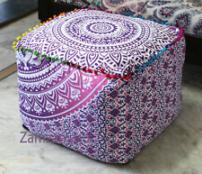 "18"" Ottoman Pouf Cover Square Indian Ombre Mandala Multi Pink Footstool Covers"