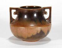 Fulper Pottery arts & crafts copper dust flambe brown 2 deco handled vase
