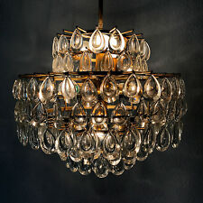 STUNNING Mid Century PALWA Crystal Glass DROPS 8-Ligths CHANDELIER Pendant Lamp