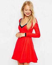 Asos red skater dress XS EU36 US4 UK8 long sleeves schoolgirl cheerleader skirt