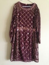 Lovedrobe Luxe Long Sleeve Stud Embellished Shift Dress(CHOCOLATE)RRP £95.00