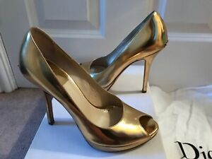 *CHRISTIAN DIOR* GENUINE GOLD MIRROR LEATHER PEEP TOE SHOES HEELS UK 36 3 BOX