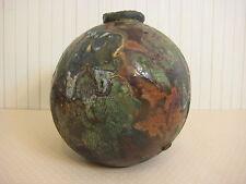"Vintage Art Pottery Raku Fired Hand Thrown Vase (Signed) 8"" Tall X 7 3/4"" Widest"