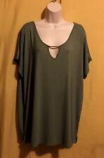 53236a1bec56b Jaclyn Smith women s sage green plus stretch keyhole doman top size XL XXL