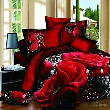 3D Oil Red Rose Bedding Sets 4PC,(1PC Duvet Cover,1PC Bed Sheet,2PC PillowCase