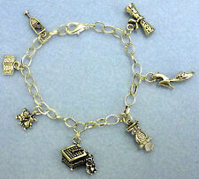 University - Silver Plated Charm Bracelet With Graduation Charms - Ideal Present