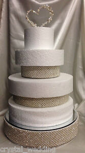 Pearl & real crystal cake separator / riser for  use between your wedding cakes
