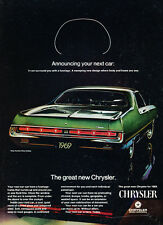 1969 Chrysler 300 green coupe - rear view  Classic Vintage Advertisement Ad H78