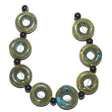 "CPC221f Honey Brown & Aqua Blue 20mm Round Open Donut Ceramic Beads w Spacers 7"""
