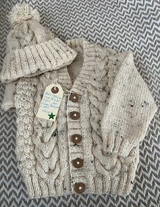 A Brand New Hand Knitted Boys Baby Cardigan With PomPom Bobble Hat