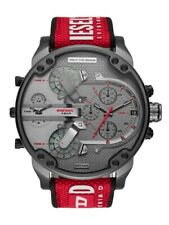 MEN'S DIESEL DZ7423 MR. DADDY GREY RED SILICONE MULTI-ZONE CHRONOGRAPH WATCH